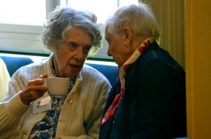 Shelia and Barbara enjoy coffee between services